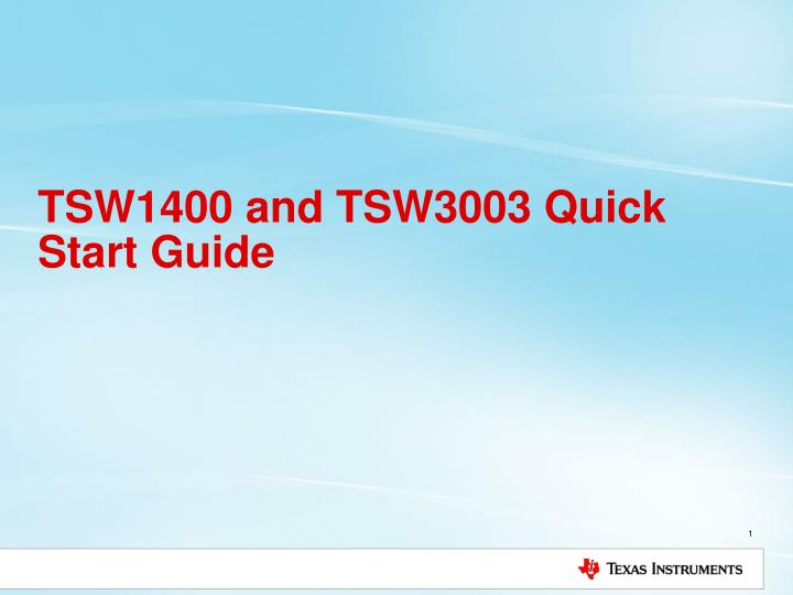 tsw1400 and tsw3003 quick start guide n.