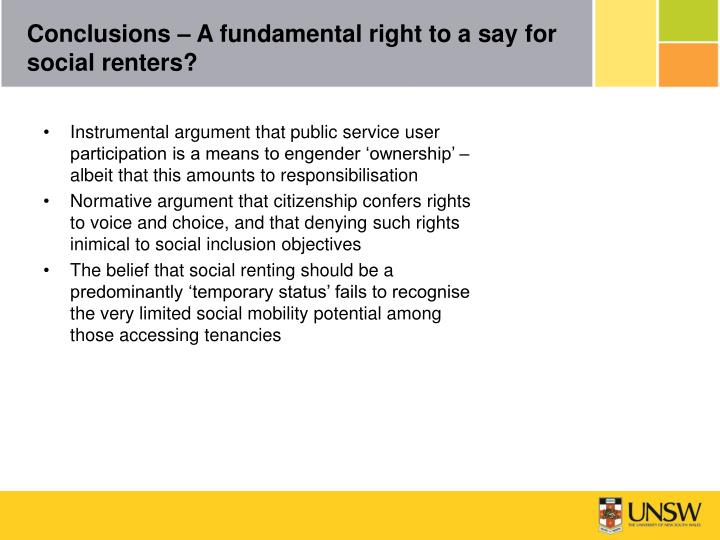 Conclusions – A fundamental right to a say for social renters?