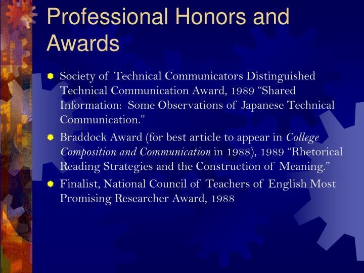 Professional Honors and Awards