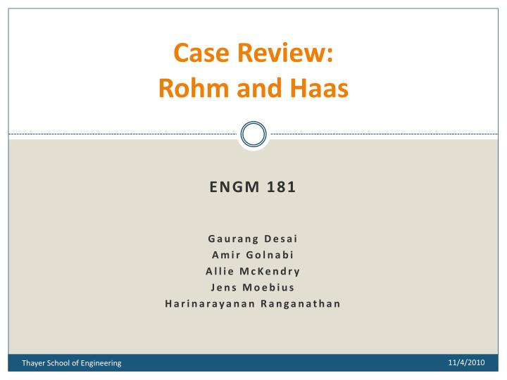 case review rohm and haas n.
