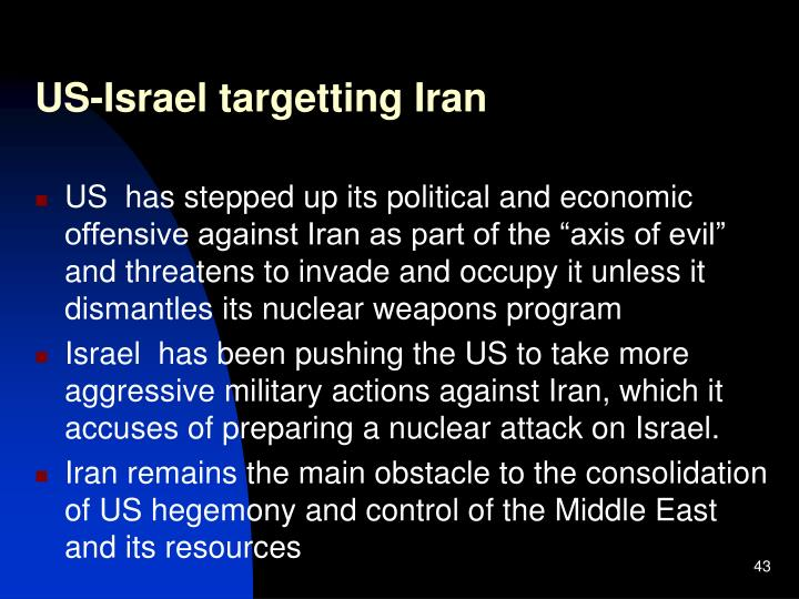 US-Israel targetting Iran