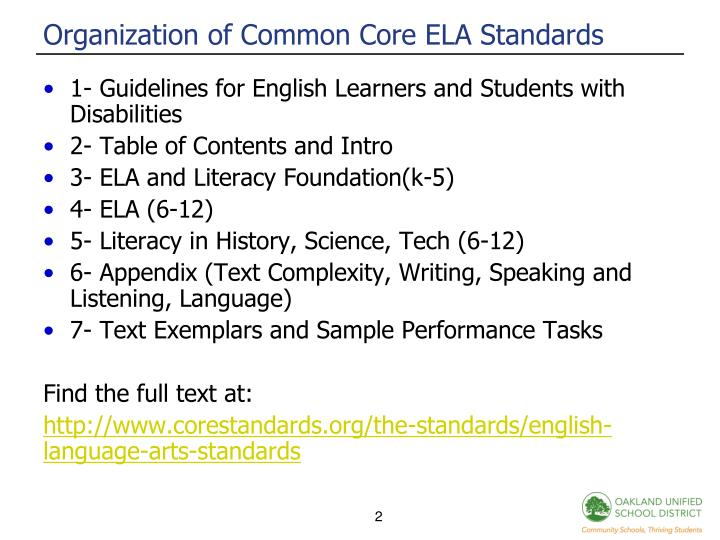 Organization of common core ela standards