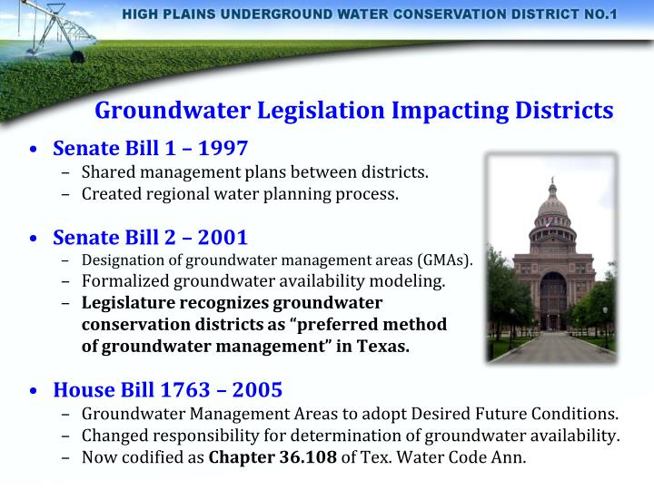 Groundwater Legislation Impacting Districts