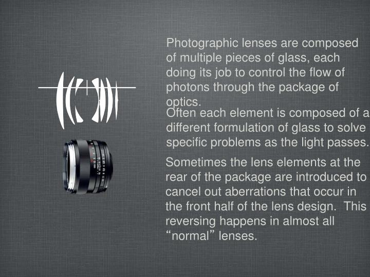 Photographic lenses are composed of multiple pieces of glass, each doing its job to control the flow of photons through the package of optics.