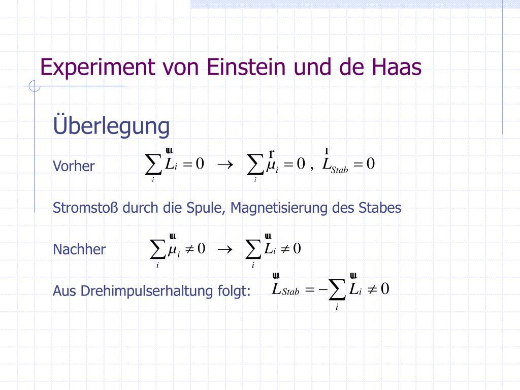 Einstein De Haas Effekt