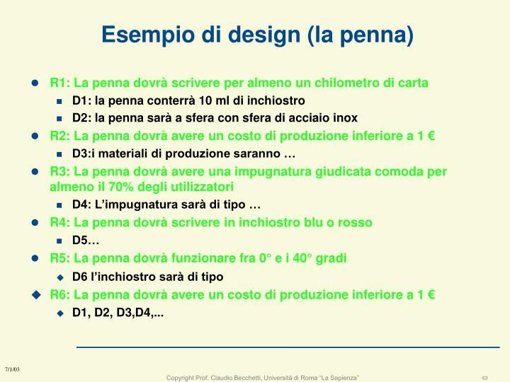 Esempio di design (la penna)