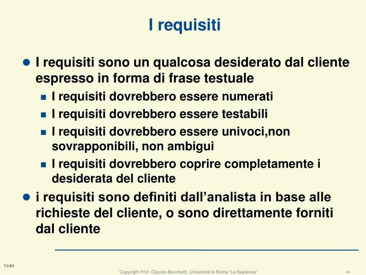I requisiti