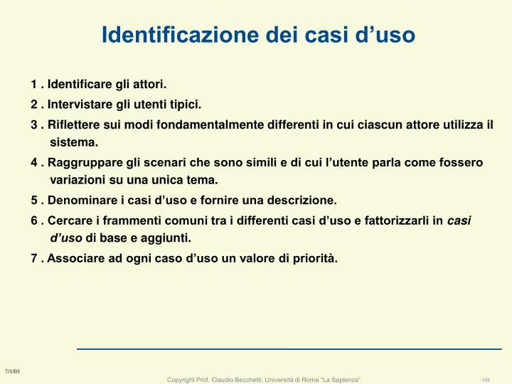 Identificazione dei casi d'uso