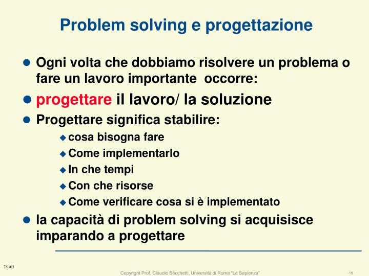 Problem solving e progettazione