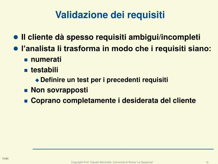 Validazione dei requisiti