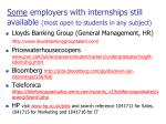 some employers with internships still available most open to students in any subject