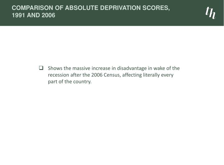 Comparison of Absolute Deprivation Scores, 1991 and 2006