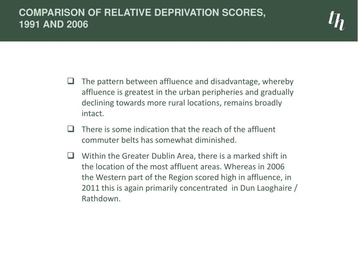 Comparison of Relative Deprivation Scores, 1991 and 2006