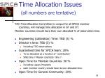 time allocation issues all numbers are tentative