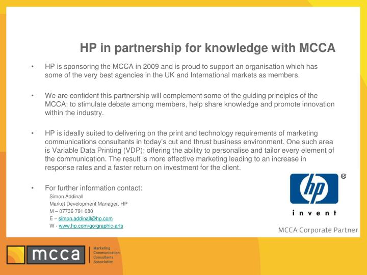 Hp in partnership for knowledge with mcca