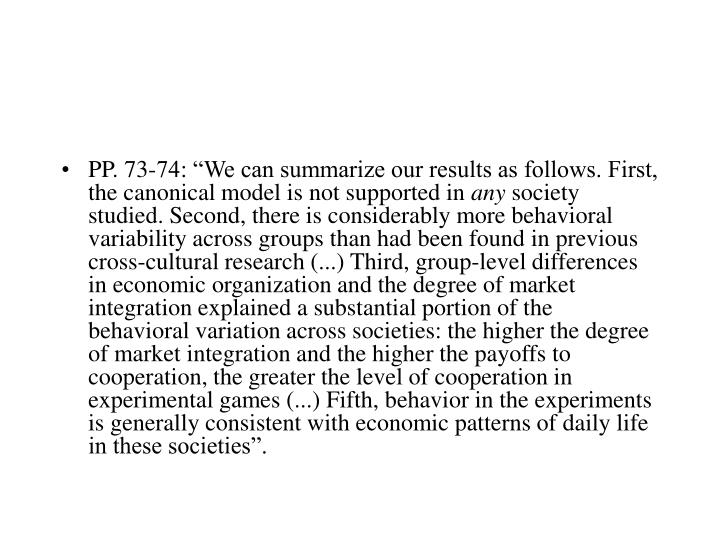 """PP. 73-74: """"We can summarize our results as follows. First, the canonical model is not supported in"""