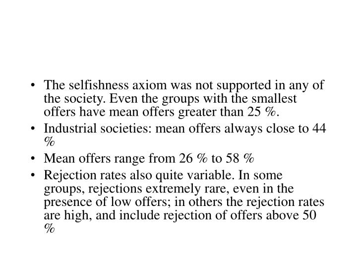 The selfishness axiom was not supported in any of the society. Even the groups with the smallest offers have mean offers greater than 25 %.