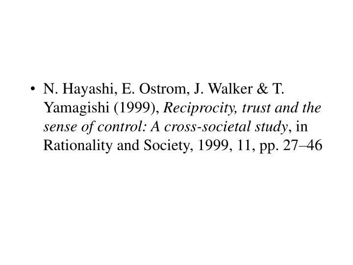 N. Hayashi, E. Ostrom, J. Walker & T. Yamagishi (1999),