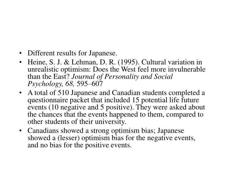 Different results for Japanese.