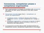 conoscenza competenze umane e competenze organizzative