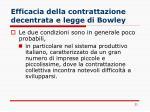 efficacia della contrattazione decentrata e legge di bowley
