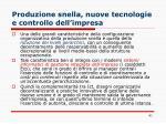 produzione snella nuove tecnologie e controllo dell impresa