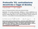 protocollo 93 contrattazione decentrata e legge di bowley