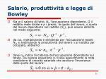 salario produttivit e legge di bowley