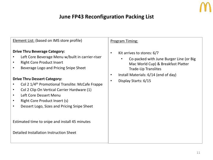 June FP43 Reconfiguration Packing List