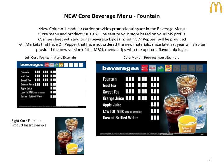 NEW Core Beverage Menu - Fountain