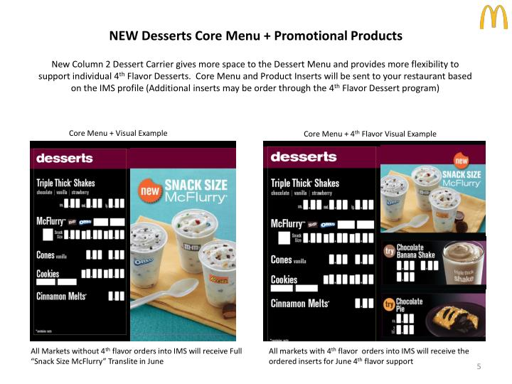 NEW Desserts Core Menu + Promotional Products