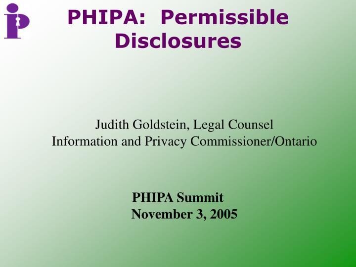 phipa permissible disclosures n.