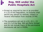 reg 965 under the public hospitals act