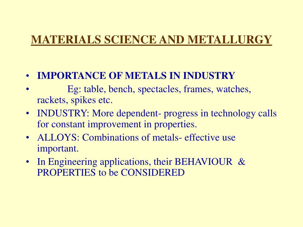 PPT - MATERIALS SCIENCE & METALLURGY PowerPoint Presentation