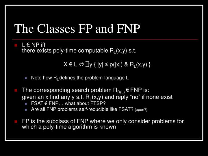 The Classes FP and FNP