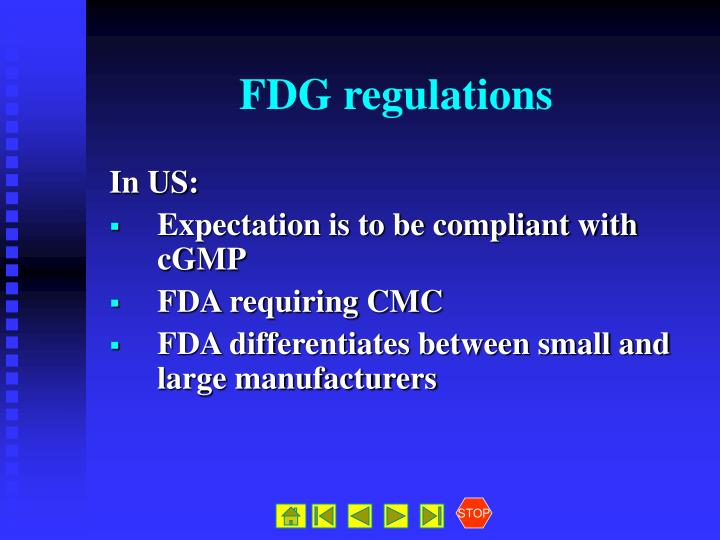 FDG regulations