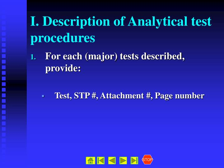 I. Description of Analytical test procedures