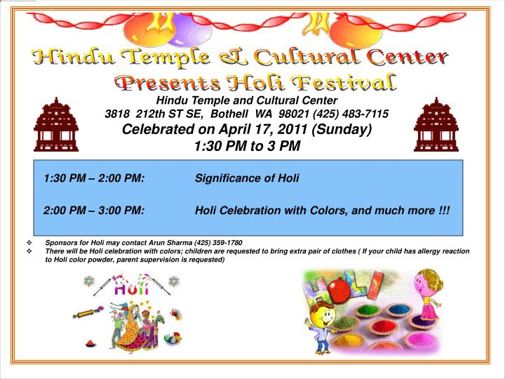 PPT - Hindu Temple and Cultural Center 3818 212th ST SE