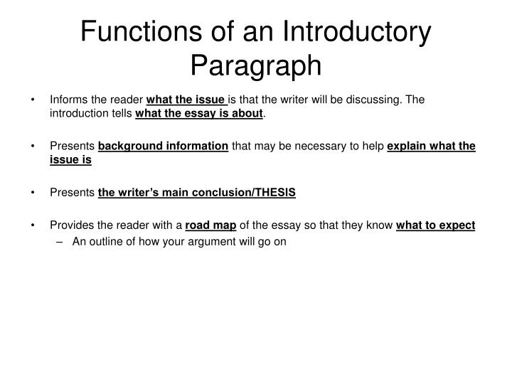 what is an introductory sentence