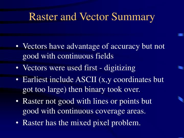 Raster and Vector Summary