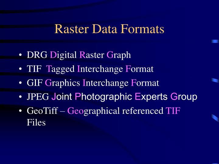 Raster Data Formats