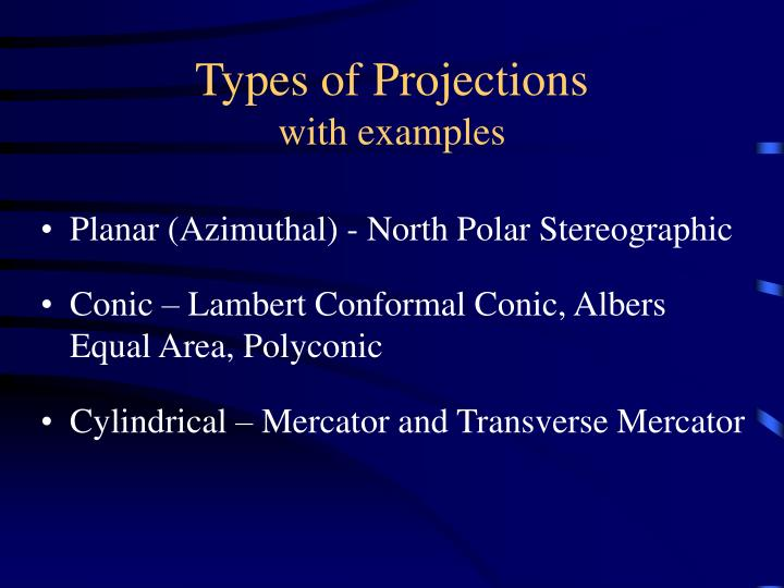 Types of projections with examples