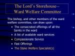 the lord s storehouse ward welfare committee1