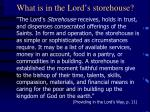 what is in the lord s storehouse