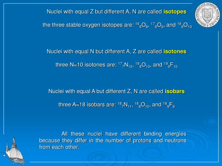 Nuclei with equal Z but different A, N are called