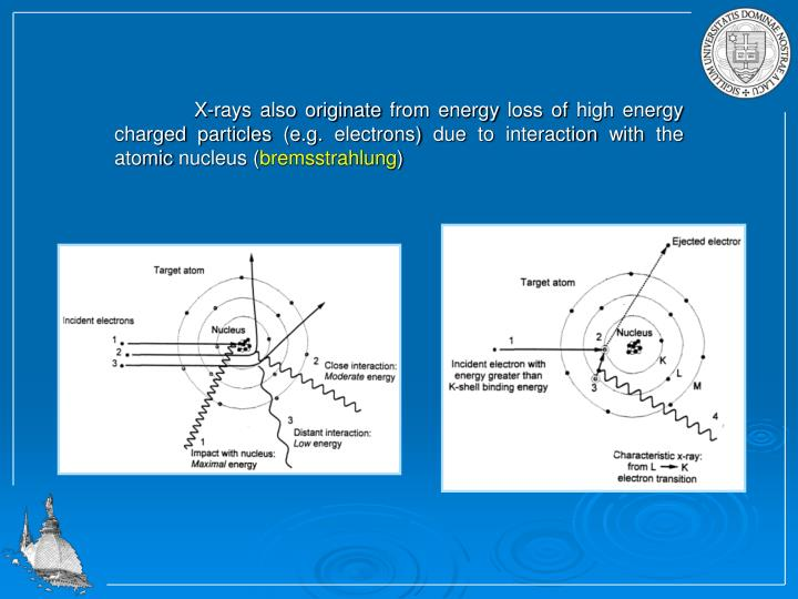 X-rays also originate from energy loss of high energy charged particles (e.g. electrons) due to interaction with the atomic nucleus (