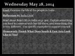 wednesday may 28 2014