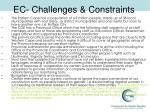 ec challenges constraints
