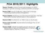 poa 2010 2011 highlights