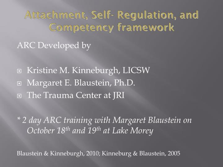 Attachment, Self- Regulation, and Competency framework